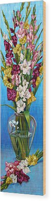 Wood Print featuring the painting Floretta's Gladiolus by Nancy Tilles