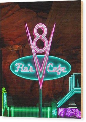 Flo's V8 Cafe - Cars Land - Disneyland Wood Print by Heidi Smith
