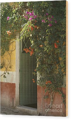 Wood Print featuring the photograph Flower Bedecked Doorway Mineral De Pozos Mexico by John  Mitchell