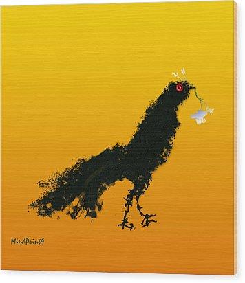 Wood Print featuring the digital art Flower Bird by Asok Mukhopadhyay