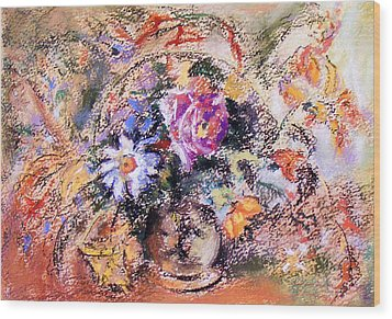Wood Print featuring the painting Flower Burst Mixed Bouquet by Richard James Digance