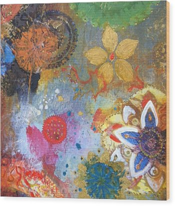 Wood Print featuring the painting Flower Garden by Elizabeth Coats