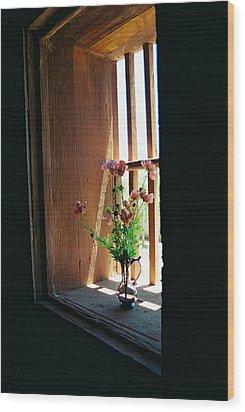 Flower In Window Wood Print