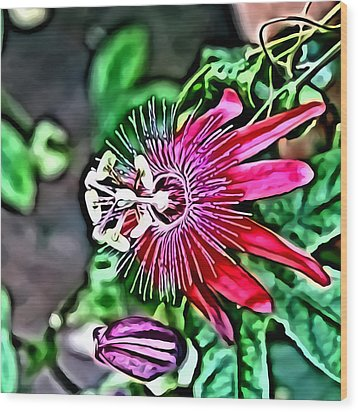 Flower Painting 0001 Wood Print by Metro DC Photography