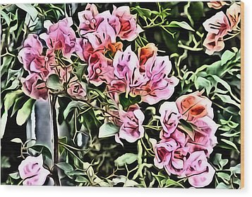 Flower Painting 0003 Wood Print by Metro DC Photography