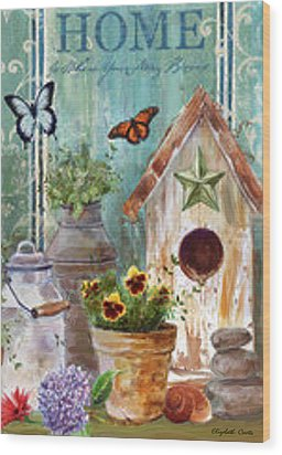 Wood Print featuring the painting Flower Pot by Elizabeth Coats