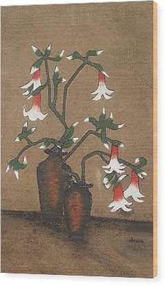 Flower Pot Wood Print by Rejeena Niaz