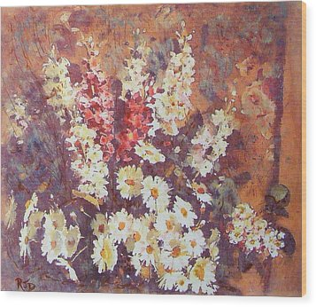 Wood Print featuring the painting Flower Profusion  by Richard James Digance