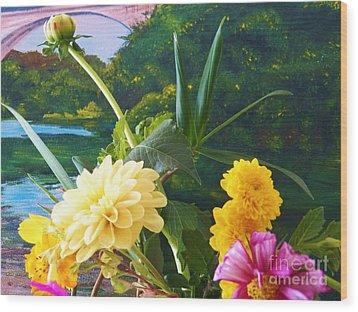 Flower River Island Wood Print by Judy Via-Wolff
