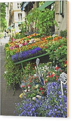 Flower Stand In Paris Wood Print by Elena Elisseeva
