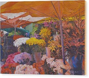 Flower Stand Wood Print
