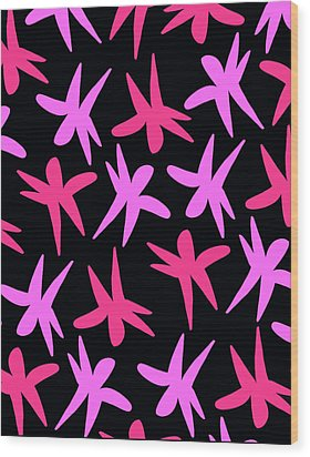 Flower Stars  Wood Print by Louisa Knight