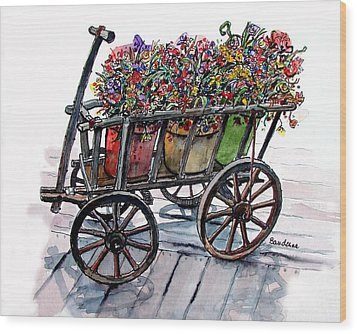 Wood Print featuring the painting Flower Wagon by Terry Banderas