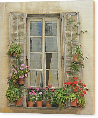 Wood Print featuring the photograph Flower Window Provence France by Dave Mills