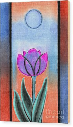 Wood Print featuring the pastel Flower With Blue Moon by Christine Perry