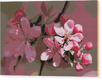 Flowering Crabapple Posterized Wood Print
