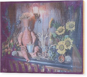 Wood Print featuring the painting Flowerpotman by Richard James Digance