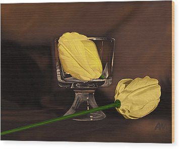 Flowers And Glass Wood Print by Tony Malone