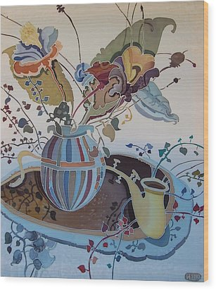 Flowers And Saxophone Wood Print by Irina Dorofeeva