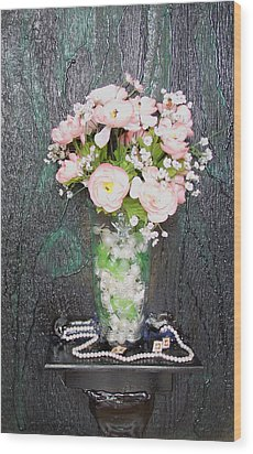 Flowers And Vase Wood Print by Angela Stout