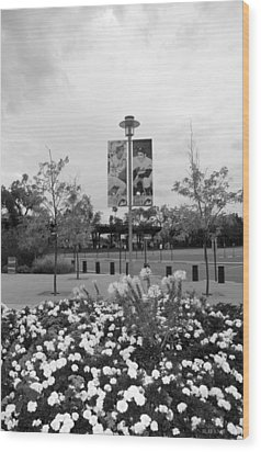 Flowers At Citi Field In Black And White Wood Print by Rob Hans
