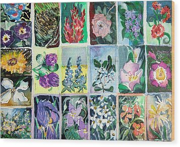 Flowers Flowers Flowers Wood Print by Mindy Newman
