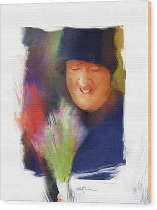 Flowers For Sale Wood Print by Bob Salo