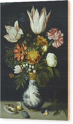 Flowers In A Vase Painting Wood Print by Photos.com