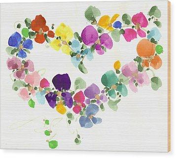 Flowers In My Heart Wood Print