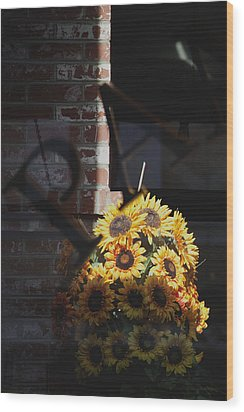 Flowers In The Window Wood Print