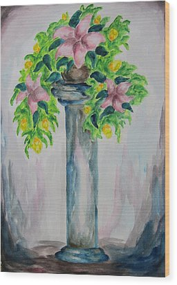 Wood Print featuring the painting Flowers On A Pedestal - Wcs by Cheryl Pettigrew