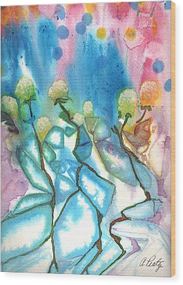 Flowers On Ice Wood Print