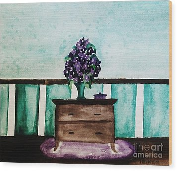 Flowers On My Dresser Wood Print by Marsha Heiken