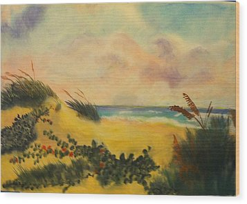 Flowers On The Beach Wood Print by Karel Thome