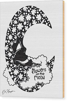 Flowers On The Moon Wood Print by Dan Keough