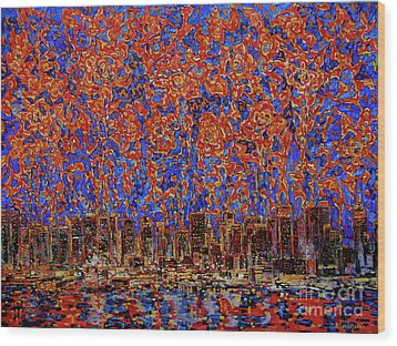 Flowers Over The City. New York Wood Print by Andrey Soldatenko