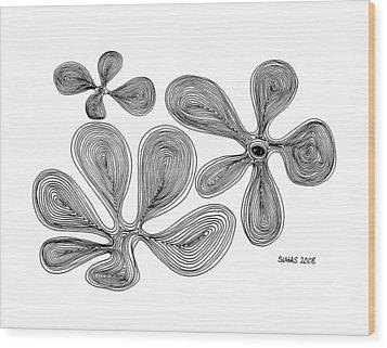 Flowers Wood Print by Suhas Tavkar