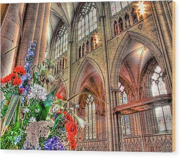 Flowers York Minster - Hdr Wood Print by Colin J Williams Photography