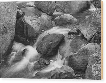 Flowing Water Down The Colorado St Vrain River Bw Wood Print by James BO  Insogna