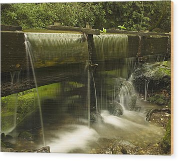 Flowing Water From Mill Wood Print by Andrew Soundarajan