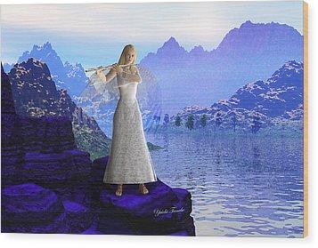 Flute Angel 2 Wood Print