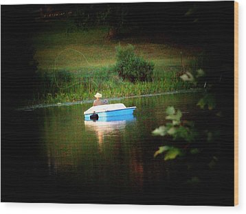 Fly Fishing Wood Print by Michael L Kimble