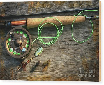 Fly Fishing Rod With Polaroids Pictures On Wood Wood Print by Sandra Cunningham