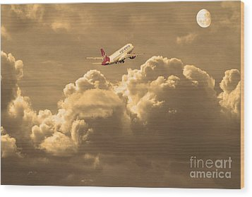 Fly Me To The Moon . Partial Sepia Wood Print by Wingsdomain Art and Photography