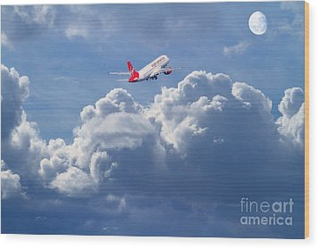 Fly Me To The Moon Wood Print by Wingsdomain Art and Photography