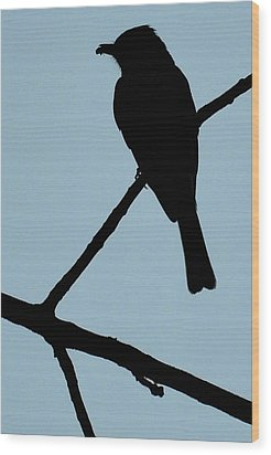 Flycatcher With Bug Wood Print