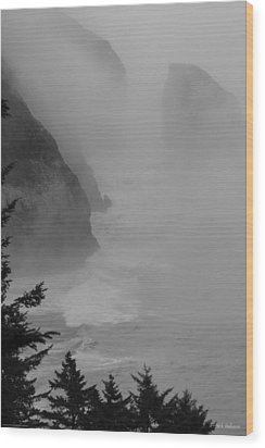 Wood Print featuring the photograph Fog And Cliffs Of The Oregon Coast by Mick Anderson