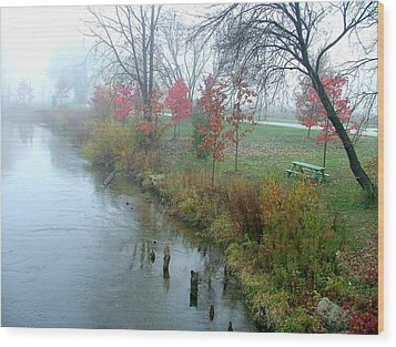 Fog On The Muskegon River Wood Print