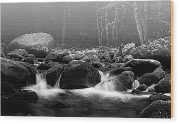 Fog On The Roaring Fork Wood Print