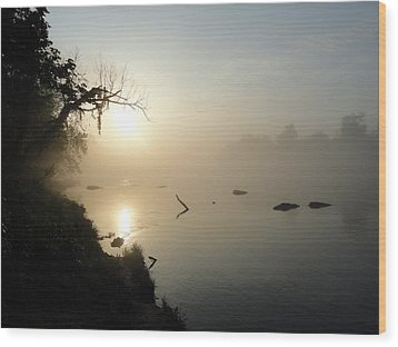 Fog On The White River Wood Print by Heather Owen